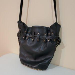 Like New F21 Faux Leather Black Studded Buckey Bag